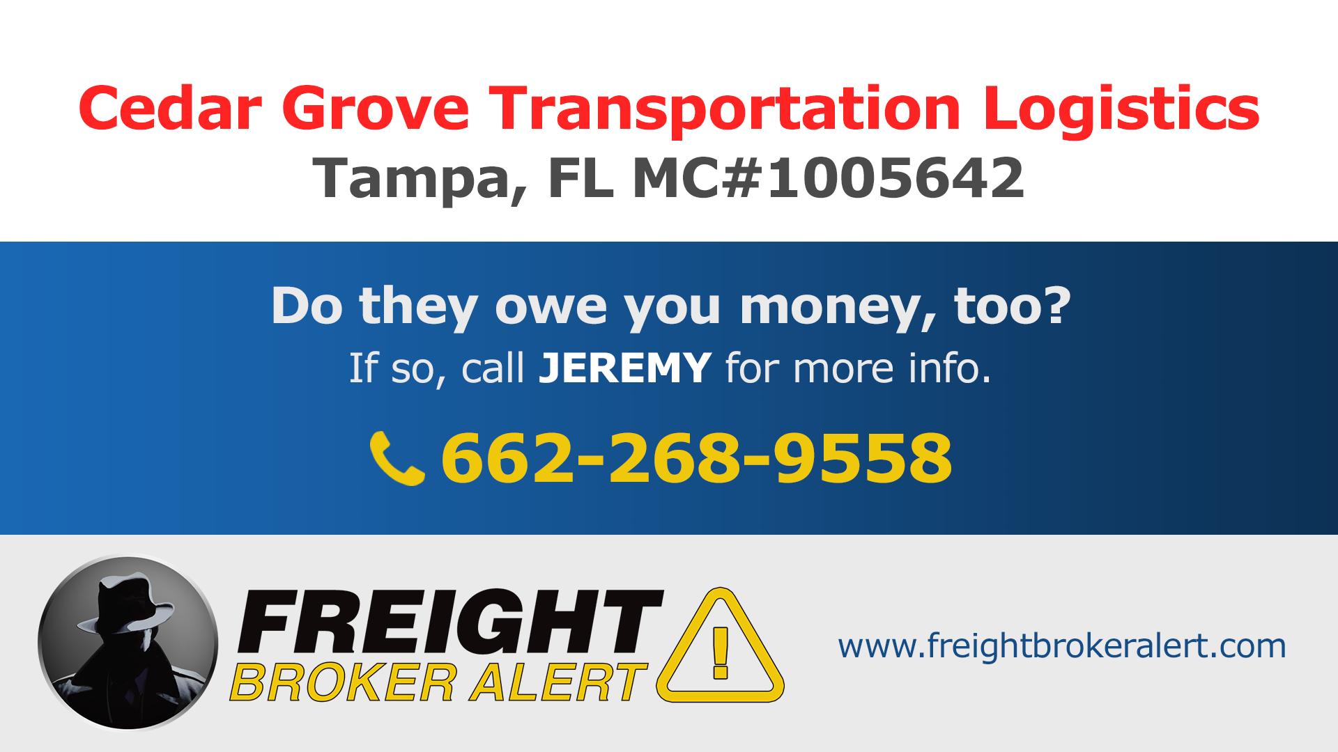 Cedar Grove Transportation Logistics Florida