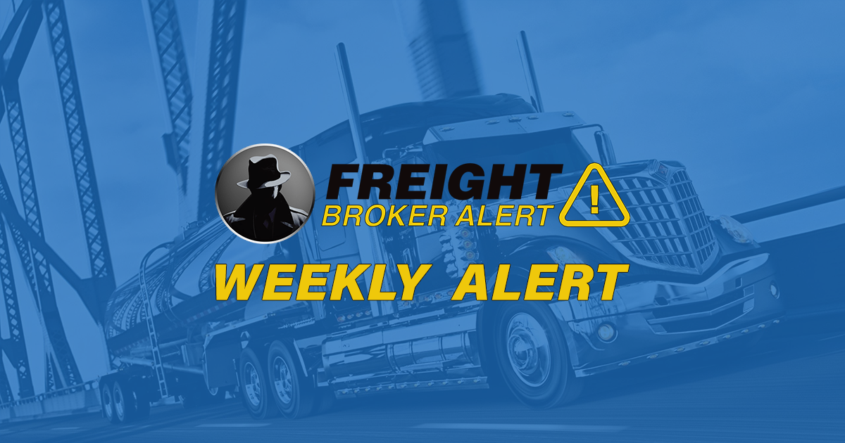 FREIGHT BROKER ALERT WEEKLY NEW DEBTOR ALERT 12-9-19