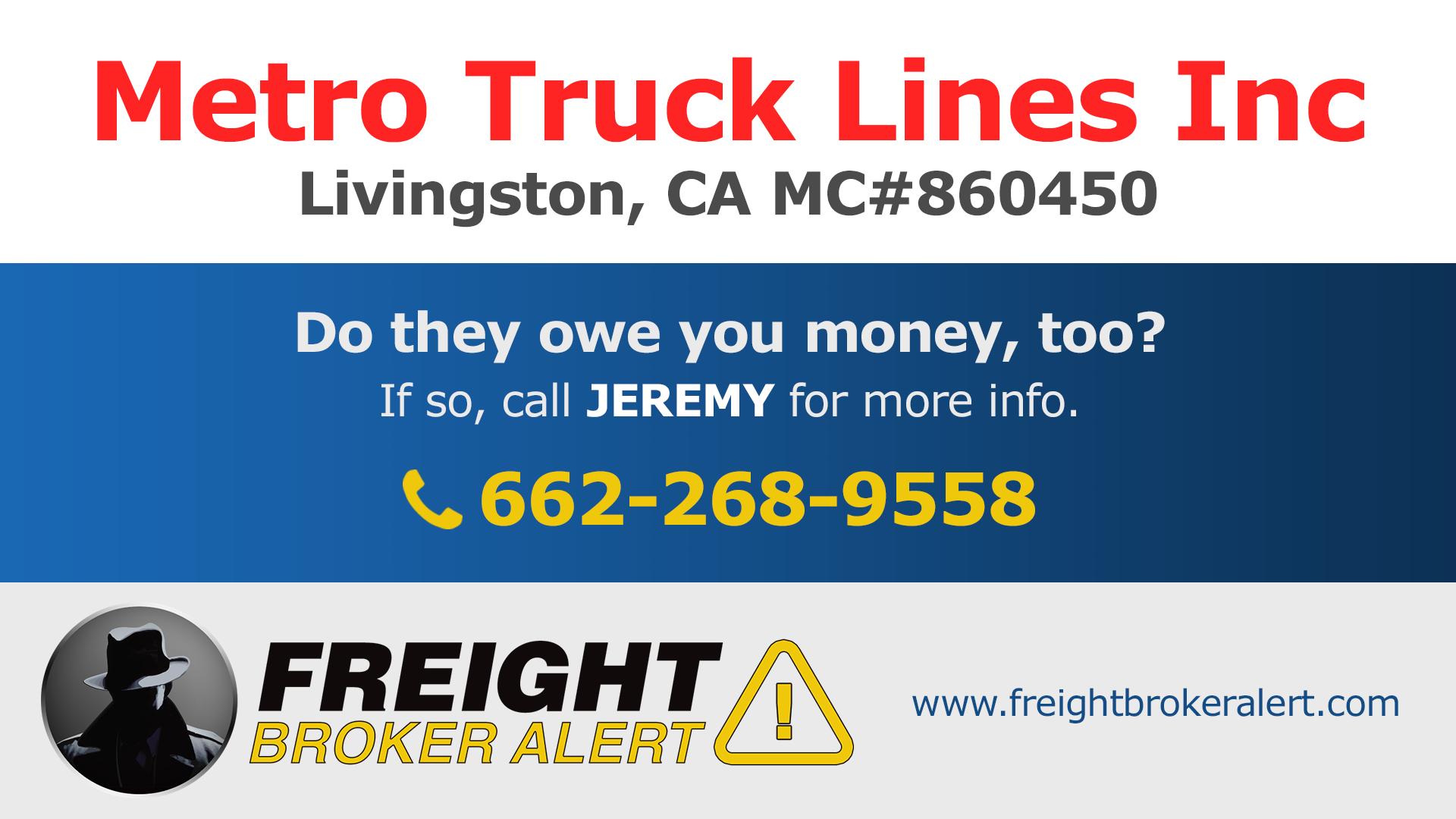Metro Truck Lines Inc California