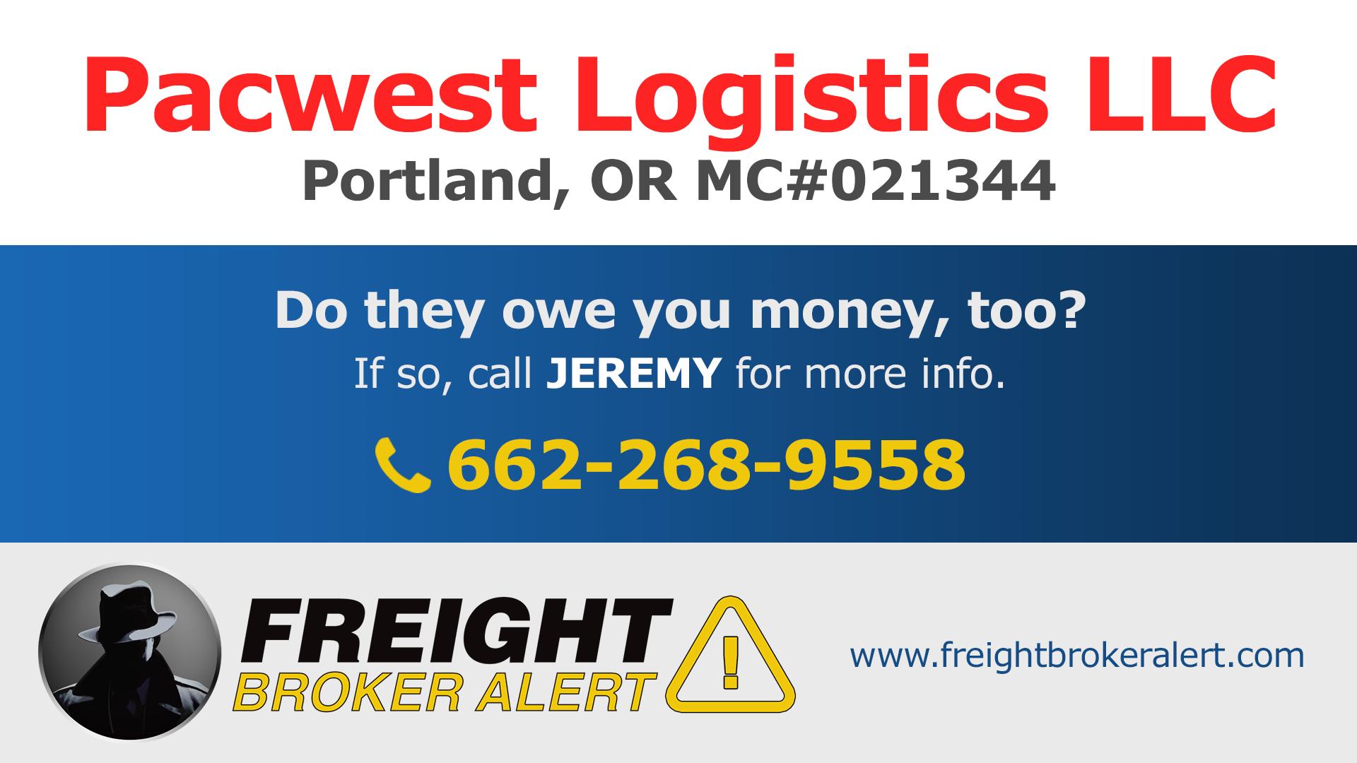 Pacwest Logistics LLC Oregon